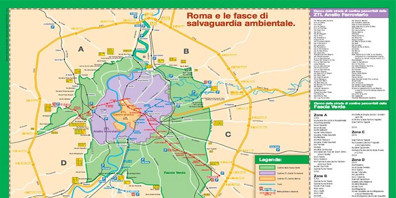 Fascia verde Roma strade percorribili e mappa