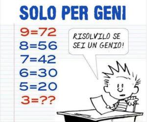 9=72 8=56: quiz matematici difficili con soluzione